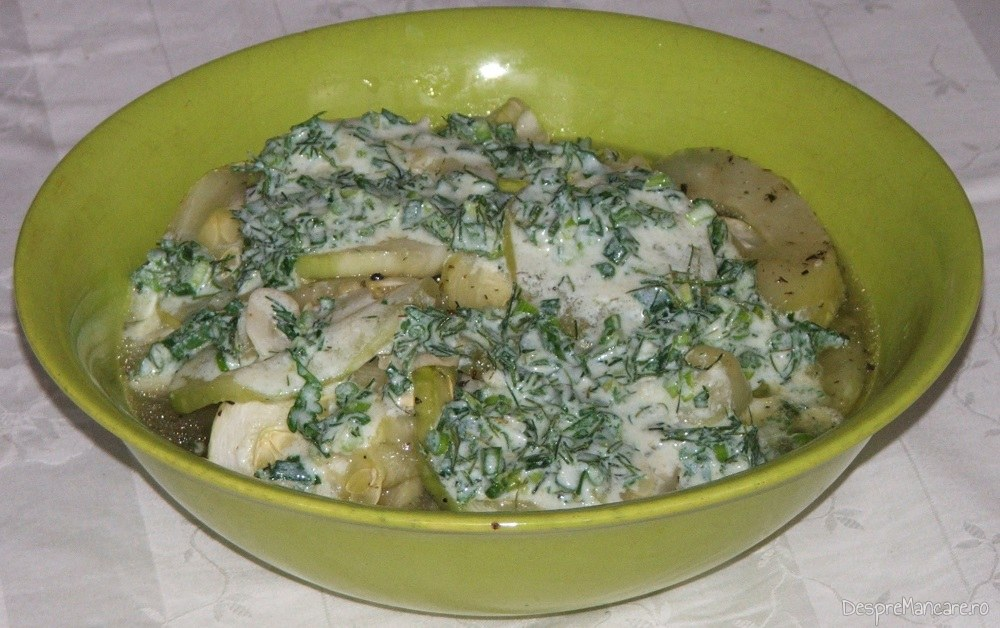 Salata de dovlecei cu mujdei de usturoi si iaurt.