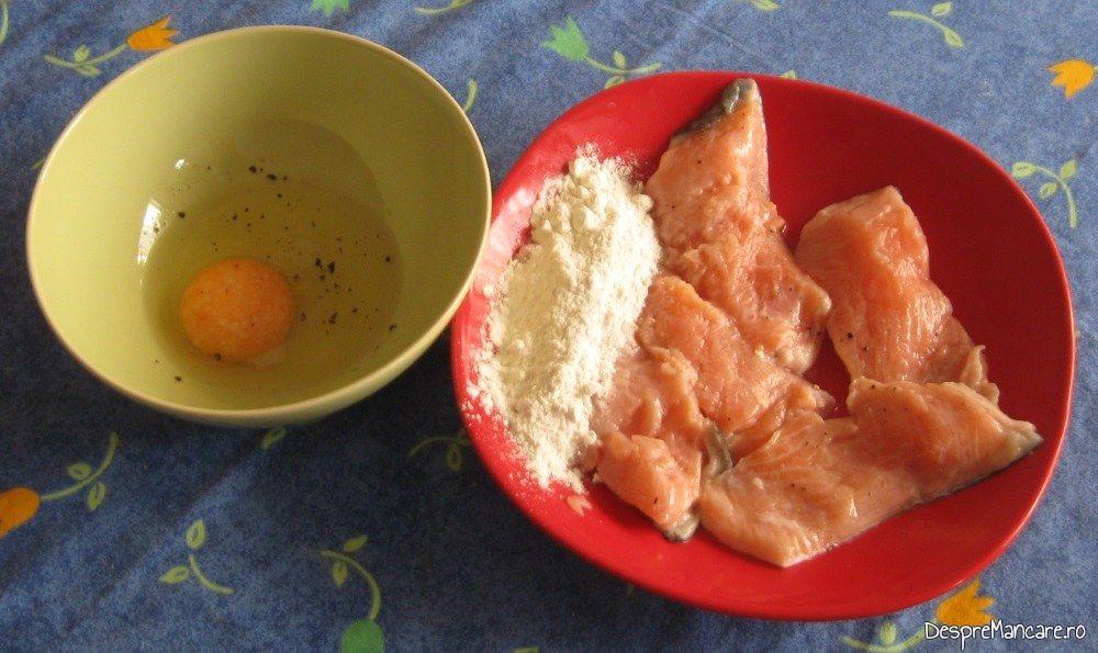 Ingrediente de trebuinta pentru pane' de pastrav somonat cu paste fainoase.